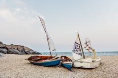 Sail Boats Sea Shore Lifesaver Flotation Life Buoy Rock Formatio Royalty Free Stock Photography