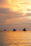 Sail boats at sunset, Boracay Island, Philippines Royalty Free Stock Image