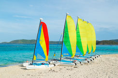 Sail Boats on Tropical Beach Stock Photos