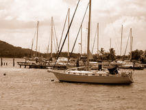 Sail boats in Virgin Islands. Sail boat in the water at St. John, United States Virgin Islands done in sepia tone Stock Images