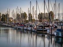 Sail boats and yachts anchored in marina stock photo