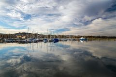Sail boats and yachts in new harbour in Ranheim, middle Norway royalty free stock image