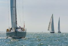 Sail Boats or Yachts Sailing on A Beautiful Sunny Day Royalty Free Stock Photography
