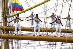 Sail Cartagena 2014. Photojournalism. The time when Mexican sail arrive in Cartagena's coast Royalty Free Stock Images