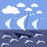 Sail the high seas ships in a stormy sea. Vector illustration. Sail the high seas ships in a stormy sea Stock Images