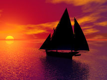 Sail Into History. A sailing ship, silhouetted by the sunset on the ocean.  Computer Generated Image, 3D model Royalty Free Stock Image