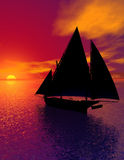 Sail Into History Portrait View. A sailing ship, silhouetted by the sunset on the ocean.  Computer Generated Image, 3D model Royalty Free Stock Photography