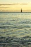 Sail at horizon. Small sail boat at cruising by sunset Royalty Free Stock Photography