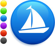 Sail icon on round internet button Royalty Free Stock Photography