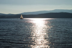 Sail on lake Lipno Stock Photo