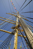 Sail mast. Dockside of old sailing ship Stock Photography