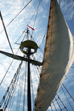 Sail and mast. The mast and the sail of a old vessel at grand cayman stock photos