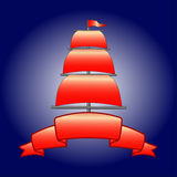 Sail, mast, tape. Tape to place text mast with sails Stock Images