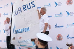 Sail of Optimist Dinghy signed by Chief of Gazprom Alexey Miller Stock Images