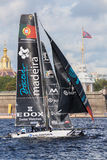 Sail Portugal catamaran on Extreme Sailing Series Act 5 catamarans race on 1th-4th September 2016 in St. Petersburg Stock Images