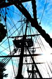 Sail rigging. Tall ship sailboat rigging up close Stock Photos