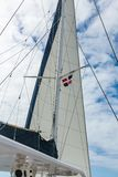 Sail and rigging yacht against the sky in the Dominican Republic royalty free stock images