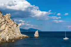 Sail Rock in Crimea on the Black Sea coast. View of Sail Rock in Crimea on the Black Sea coast stock images