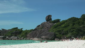 Sail rock onSimilan beach. VIew of Similan island beach with Sail rock on the background stock video footage