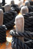 Sail Ropes. Sail rope fastened on deck Royalty Free Stock Images
