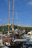 Sail safely berted. Photo taken at Mgarr harbour Gozo, Malta Stock Photo