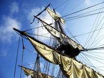 Sail of a sailing boat against sky Royalty Free Stock Photos