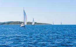 Sail of a sailing boat. sailing yacht on the water mast Royalty Free Stock Image