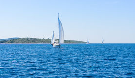 Sail of a sailing boat. sailing yacht on the water mast Stock Photography