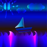 Sail. Ing yacht, ocean, nice weather, abstract colors Stock Image