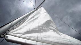 Sail on sailing yacht. At windy sunny day stock video footage