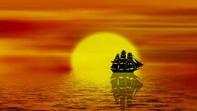 Sail On The Sea At Sunset. Seamless loop footage - sail on the sea at sunset stock video footage