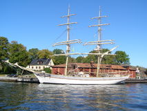 Sail ship. Vintage sail ship in the sea in Stockholm Royalty Free Stock Images