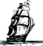 Sail ship. Black sail old ship on white background royalty free illustration