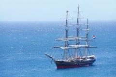 Sail ship. Sailing on a blue tropical ocean Stock Photos