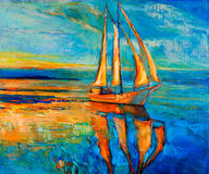 Sail ship. Original oil painting of sail ship and sea on canvas.Sunset over ocean.Modern Impressionism vector illustration
