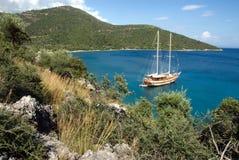 Sail ship on anchor in Laguna. Sailing ship on anchor in a laguna in Turkey Royalty Free Stock Photo