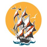 Sail Ship Colorful Emblem Stock Photography