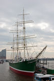 Sail ship in Hamburg. The picture shows huge ocean ship on loading in the port of Hamburg Stock Photography