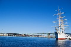 Sail ship in harbour. Big sail ship moored in the Gothenburg harbour under clear blue skies Stock Photography
