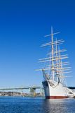 Sail ship in harbour. Sail ship moored in the harbour under blue skies Stock Photography