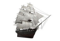 Sail Ship Isolated. On white background. 3D render royalty free illustration