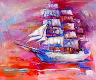 Sail ship. Original oil painting of sail ship and sea on canvas.Sunset over ocean.Modern Impressionism stock illustration