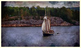 Sail ship. Photo in vintage image style stock image