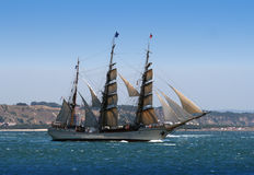 Sail Ship in a river departure Stock Photos