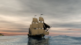 Sail ship in sunrise scenery. 3d rendering of a sail ship on sunrise Stock Image