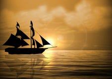 Sail Ship at Sunset Royalty Free Stock Photo