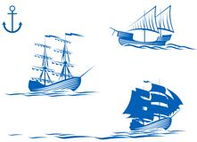 Sail ships. Set of sail ships isolated on white for design stock illustration