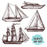 Sail Ships Set. Hand drawn retro sail ships and speed boat set vector illustration stock illustration
