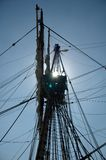 Sail Sillouette. Mast and sails of old sailing ship Stock Photo