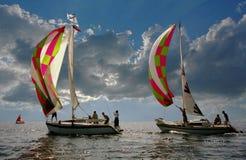 Sail summer.Sailboat-spinnaker. Royalty Free Stock Photography